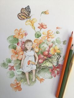 Drawing my little niece in a world of nasturtiums and butterflies. Watercolors, Watercolor Paintings, Watercolor Illustration, Watercolor Flowers, Cute Girls, Butterflies, Whimsical, Autumn, River