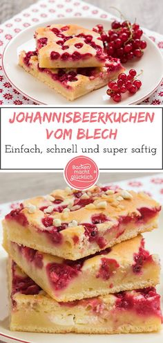 Tolles Rezept für einen einfachen Johannisbeer-Blechkuchen. Der Johannisbeerkuchen vom Blech  wird durch Schmand besonders saftig.  #blechkuchen #johannisbeeren #schmandkuchen #backenmachtgluecklich