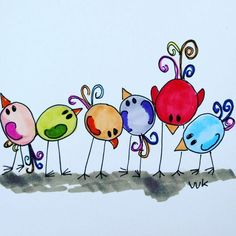 It is Lost - birds looking for something waar is het gebleven? Vogeltjes Vogels / Design: A Second Life (The Netherlands) Bird Drawings, Doodle Drawings, Doodle Art, Easy Drawings, Bird Doodle, Watercolor Cards, Watercolor Paintings, Art Fantaisiste, Art Populaire