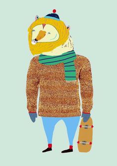 Winter Lion Skater. Limited edition print of by AshleyPercival