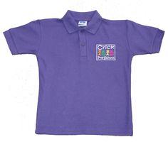 Kids purple polo shirt 100% cotton embroidered for Crick Pre-school.