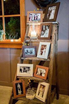Cute way to display photos and use an old ladder                                                                                                                                                      More
