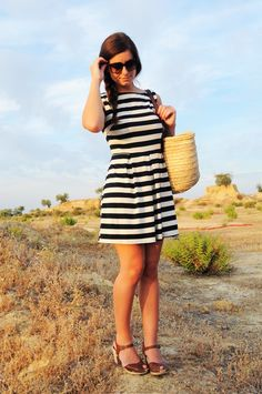 striped dress and chunky shoes