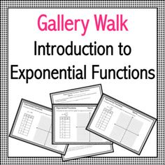 A gallery walk is a great way to get your students thinking and moving! Use this activity to introduce the topic of exponential functions. Algebra Activities, Maths, Middle School, High School, Secondary Teacher, School Grades, Teaching Tools, A Table