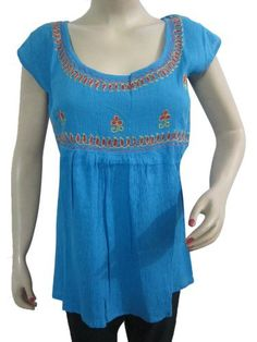 Boho Peasant Blouse, Blue Embroidered Cotton Tunic Top, Summer Fashion Blouse Shirt S Mogul Interior,http://www.amazon.com/dp/B00CEW1L3W/ref=cm_sw_r_pi_dp_NY.Brb851A7542A0