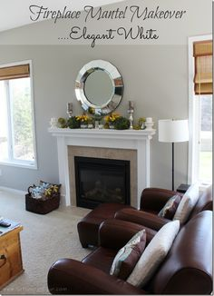 Paint your mantel white so your decor pops out!