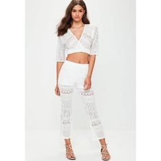 Missguided Lace Wrap Top Flare Trousers Set (€66) ❤ liked on Polyvore featuring white