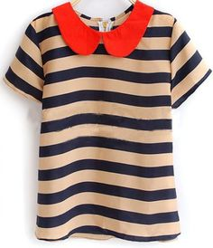 navy and tan striped shirt + red peter pan collar y and i clothing boutique | shopyandi.com