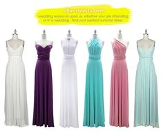 Bridesmaids dresses in every color multi way convertible dress