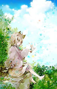 Natsume Yuujinchou ~~ Adorable chibi kitsune on a sunny day