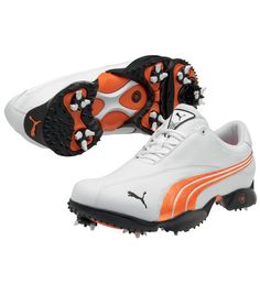 Puma Ace 2 Golf Shoes Mens Wide White Vibrant Orange on Sale 86606f588