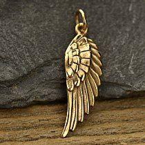 Wing Charm Ribbed Angel Natural Bronze  C603 by carolinabeadshop