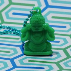 Green Buddha Necklace Yoga Jewelry Buddha Pendant by jensbackyard, $10.00