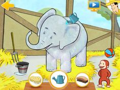 Curious George at the Zoo for iPad ($0.00) George has been asked to help out at the zoo. George needs your child's help to wake, clean and feed the animals.  Pop-up Menu  • Explore the zoo using a beautiful, interactive 3D Pop-up menu.  • Listen to lively audio narration by the Man in the Yellow Hat.  • Memory skills  • Sorting ability  • Reasoning skills