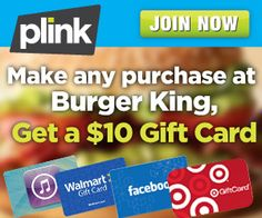 Private offer for new members only! Sign up for Plink today, make any purchase at Chipotle by Sunday, 8/18 11:59 EST, and they'll give you 1,000 Plink Points – enough to redeem for a $10 Gift Card of your choice at places like Amazon.com, iTunes, Target, Walmart, Kohls, Starbucks and more! It gets even better! Choose your Free $10 gift card and start earning rewards at more than 50,000 locations nationwide.