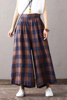Loose Plaid Cotton Linen Trousers Women Wide Leg Pants Having a fit and fit Linen Pants Women, Trousers Women, Pants For Women, Wide Trousers, Pantalon Large, Maxi Robes, Mode Hijab, Pants Pattern, Mode Outfits