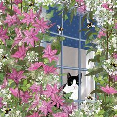'At The Window', by UK Artist Mig Wyeth. Published by Green Pebble. Line Art Flowers, Red Flowers, Flower Art, Illustrations, Illustration Art, Cat Art, Garden Art, Painting & Drawing, Fine Art