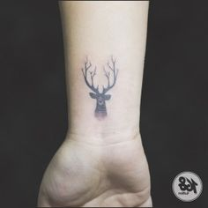 Deer tattoo small black and grey Tattoos For Baby Boy, Boy Tattoos, Cool Small Tattoos, Tattoo Small, Deer Tattoo, I Tattoo, Montana Tattoo, Tattoo Cream, Tattoo Removal