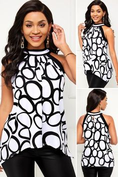 Asymmetric Hem Geometric Print Sleeveless Blouse HOT SALE! cute top, stylish tops, tops casual, beautiful tops, pretty tops, tops outfits, top fashion outfits, summer tops, clothes, fashion, beauty, buy, sale, shop, shopping, free shipping, #elegantstyle Spring Outfits, Kids Outfits, Casual Outfits, Fashion Outfits, Stylish Tops, Casual Tops, Badass Style, Trousers Women, Cute Tops
