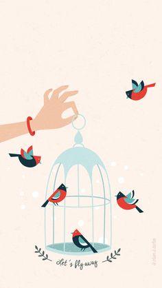 Let's Fly Away Peach iPhone Wallpaper @PanPins