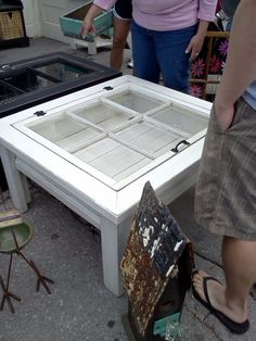 Window Pane Coffee Table - end tables?? Cute idea. Wonderful shadow box.