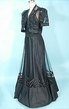 c. 1937 Black 3-piece Gown with Belt