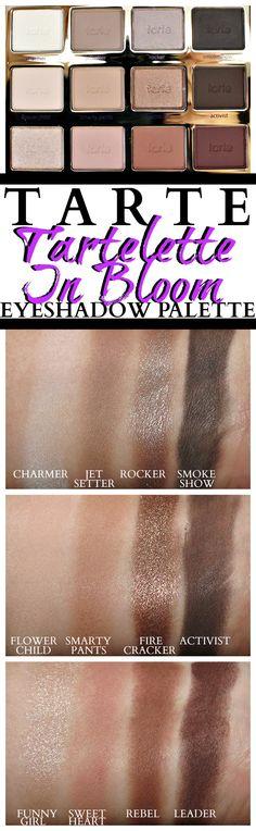 TARTE Tartelette in bloom eyeshadow palette swatches review photos neutral eyeshadow palettes
