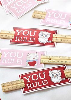 """you rule!"" - such a cute idea for the kiddos on valentine's day!"
