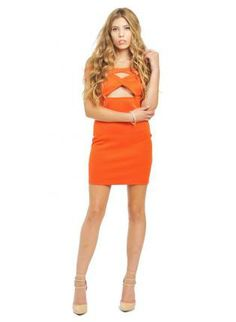 Orange Off Shoulder Strapped Bodycon Dress,  Dress, orange  off shoulder  strapped  bodycon  dress, Chic #orange #strapped #offshoulder #bodycon #dress #love #sexy #party #cute #trendy #fashion #style #ootd www.UsTrendy.com