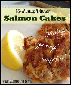 Salmon Cakes - With Gluten-free, dairy-free, and egg-free options. Best salmon recipe yet. Used 2 cooked (baked) sockeye salmon fillets. Salmon Recipes, Fish Recipes, Baby Food Recipes, Seafood Recipes, Whole Food Recipes, Cooking Recipes, Egg Free Recipes, Allergy Free Recipes, Dairy Recipes