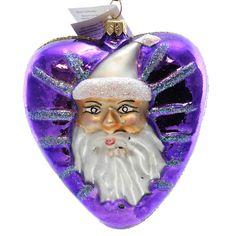 Christopher Radko SANTA HEART Glass Purple Angel