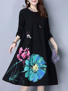 Loose Lotus Flower Printed Long Sleeve O Neck Dresses For Women