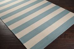 Sea Blue and White Beach Striped Rug - NEW indoor-outdoor rug from #Surya