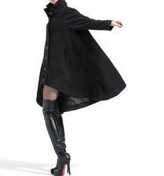 Black Women long Wool coat single breasted cloak Winter by MaLieb ☺ ✿ ☺ Long Wool Coat, Black Wool Coat, Knitted Coat, Winter Coats Women, Coats For Women, Wool Overcoat, Sweater Coats, Couture, Coat Dress