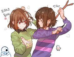 Chara: Frisk, give it back and Frisk: No!
