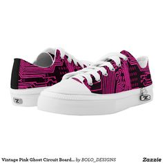 Vintage Pink Ghost Circuit Board Design Zipz Printed Shoes