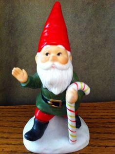 "Vintage Christmas Colonial Candle Co. Ceramic Painted Santa Elf Figurine 4 1/2"""