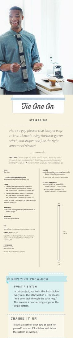 #DIY Knit Striped Tie