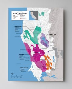Wine Map of North Coast (Mendocino, Clear Lake, Sonoma, Napa Valley), California with Cities