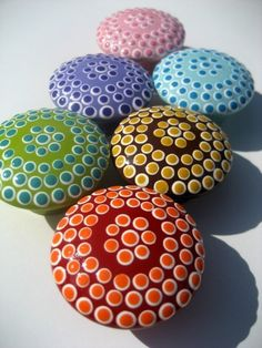 Dotted Red and Orange Drawer Knob Cabinet by sweetmixcreations, $7.00