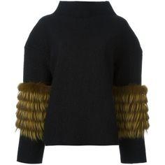 Saks Potts fur sleeve detail jumper (37.020 RUB) ❤ liked on Polyvore featuring tops, sweaters, black, jumper top, sleeve top, fur sleeve sweater, jumpers sweaters and sleeve sweater