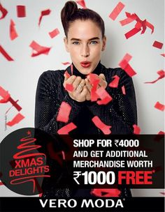 An offer not to miss , time to indulge in Christmas shopping. #VeroModa @ Forum  Shop for INR 4000 and get additional merchandise worth INR 1000 Free.Offer valid from 1st - 25th December.