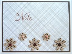Not long ago while browsing in Michael's I came across a packet of these little flowers for 1.25 - I fell in love instantly and went home and made 4 cards from them. This is the first one, these flowers have polka dots (some have writing, some music) - love  them all...