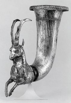 Rhyton terminating in the forepart of a wild goat/Date: ca. 4th–2nd century B.C. Geography: Iran Medium: Silver Dimensions: 9.45 x 7.87 in. (24 x 19.99 cm) Classification: Metalwork-Vessels