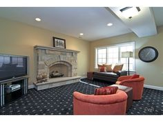 Lower Level with Fireplace, tons of natural light.