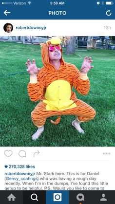 ⛅️✌️Omg, it's Tony the Tigger!!!..Where's Pooh Bear???..ʕ•́ᴥ•̀ʔっ≧◉ᴥ◉≦..PS: Awww this melted my Heart RoBBie!!..That little boy is going to be so happy!!..I wuv youuuu!! #RobertDowneyJR #TonyStark #Tigger #ChristopherRobin #WinnieThePooh #MakeADifference #Children #Happiness #Bliss #Joy #Laughter #Love #Light #Healing #Peace #Faith  (ღˇ◡ˇ)♥(ˇ∗ˇღ)