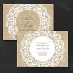 Surrounded in Lace Design Wedding Invitations - White Want a rustic romantic wedding? There's no better way to introduce it than with this white, burlap and lace design wedding invitation! Your wording is printed center stage. Wedding Invitations Australia, Burlap Wedding Invitations, Wedding Invitation Design, Invites, Rustic Wedding, Wedding Ideas, Wedding Colors, Lace Weddings, Burlap Background