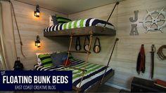 Floating Bunk Beds Tutorial - Nautical bedroom