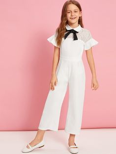 To find out about the Girls Contrast Tie Neck Lace Yoke Palazzo Jumpsuit at SHEIN, part of our latest Girls Jumpsuits ready to shop online today! Little Girl Dresses, Girls Dresses, White Lace Jumpsuit, Palazzo Jumpsuit, Kids Outfits, Cute Outfits, Jumpsuit For Kids, Designer Jumpsuits, Jumpsuits For Girls