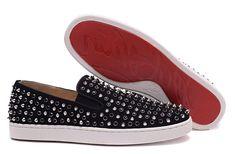 Christian Louboutin Black Suede Silver Spike Black Diamond Low Lover Sneakers
